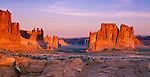 Arches National Park, UT: Morning sun on The Organ, The Three Gossips and towers of Courthouse Wash