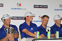 Team Europe during a post match interview after winning the Eurasia Cup at Glenmarie Golf and Country Club on the Sunday 14th January 2018.<br /> Picture:  Thos Caffrey / www.golffile.ie