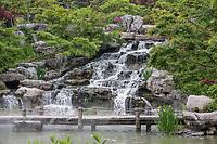 Yangzhou, Jiangsu, China.  Waterfall, Slender West Lake Park.