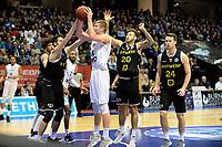 GRONINGEN - Basketbal, Donar - Telenet Giants Antwerp, Martiniplaza,  Europe Cup, seizoen 2017-2018, 06-12-2017,  Donar speler Evan Bruinsma met Antwerp speler Thomas Akyazili
