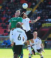 Lincoln City's Matt Rhead vies for possession with Gateshead's Liam Hogan<br /> <br /> Photographer Andrew Vaughan/CameraSport<br /> <br /> Vanarama National League - Gateshead v Lincoln City - Monday 17th April 2017 - Gateshead International Stadium - Gateshead <br /> <br /> World Copyright &copy; 2017 CameraSport. All rights reserved. 43 Linden Ave. Countesthorpe. Leicester. England. LE8 5PG - Tel: +44 (0) 116 277 4147 - admin@camerasport.com - www.camerasport.com