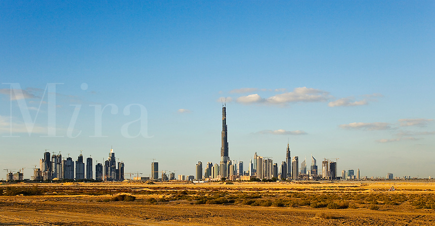 Dubai.  Skyline of the Downtown Dubai Development with the Burj Dubai, Financial Centre and Business Bay.  .