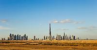 Dubai.  Skyline of the Downtown Dubai Development with the Burj Dubai, Financial Centre and Business Bay.  .