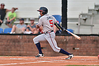 Danville Braves left fielder Jared James (5) swings at a pitch during a game against the Johnson City Cardinals at Howard Johnson Field at Cardinal Park on July 26, 2016 in Johnson City, Tennessee. The Braves defeated the Cardinals 10-8. (Tony Farlow/Four Seam Images)