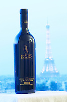 Bottle of Chateau Cransac Cuvee Renaissance against a pale blue background with the Eiffel Tower in Paris Fronton Haut-Garonne France