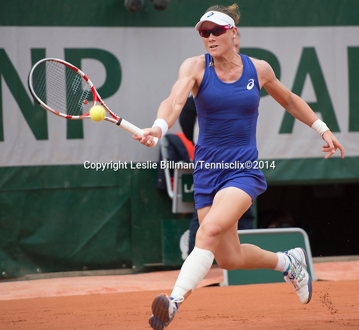 A heavily bandaged Samantha Stosur (AUS) battles against Dominika Cibulkova (SVK) at  Roland Garros being played at Stade Roland Garros in Paris, France on May 30, 2014