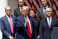 United States President Donald J. Trump, left, replies to the media after US Vice President Mike Pence, right, spoke after signing H.R. 7010 - PPP Flexibility Act of 2020 in the Rose Garden of the White House in Washington on June 5, 2020. Standing in the back row, from left to right: Director of the National Economic Council Larry Kudlow; Tyler Goodspeed, member of Council of Economic Advisers; Jovita Carranza, administrator, US Small Business Administration (SBA); US Secretary of Labor Eugene Scalia; and US Secretary of the Treasury Steven T. Mnuchin.<br /> Credit: Yuri Gripas / Pool via CNP/AdMedia
