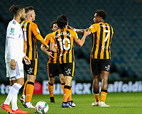 Hull City's Mallik Wilks celebrates scoring the opening goal with teammates<br /> <br /> Photographer Alex Dodd/CameraSport<br /> <br /> Carabao Cup Second Round Northern Section - Leeds United v Hull City -  Wednesday 16th September 2020 - Elland Road - Leeds<br />  <br /> World Copyright © 2020 CameraSport. All rights reserved. 43 Linden Ave. Countesthorpe. Leicester. England. LE8 5PG - Tel: +44 (0) 116 277 4147 - admin@camerasport.com - www.camerasport.com