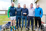 Peter O'Leary, John Crowley (Glenflesk), Stephen Stack (Listowel Emmets), Dara Ó Cinnéide (An Ghaeltacht) and Seamus Moynihan (Glenflesk) at the Legends of Kerry and Galway match at Pairc an Aghasaigh, Dingle, during the Cairde Friends Matter Dingle launch weekend.