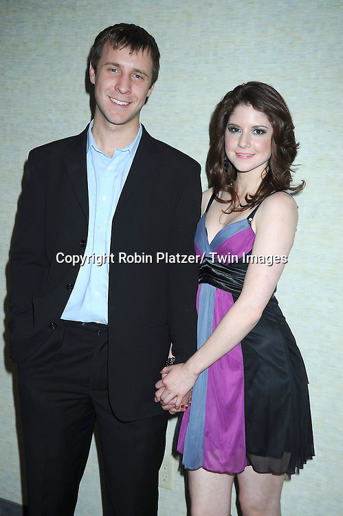 """Brian Waller and Brittany Underwood posing for photographers at The ABC Daytime Salutes Broadway Cares/ Equity Fights Aids """" An Evening of Musical Entertainment and Comedy""""  Benefit after party  on March 13, 2011 at the Marriott Marquis Hotel in New York City."""