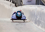 8 January 2016: Anastasia Shlapak, competing for Russia, crosses the finish line on her first run of the BMW IBSF World Cup Skeleton race at the Olympic Sports Track in Lake Placid, New York, USA. Mandatory Credit: Ed Wolfstein Photo *** RAW (NEF) Image File Available ***