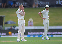 England's Ben Stokes shows his frustration during day five of the international cricket 2nd test match between NZ Black Caps and England at Seddon Park in Hamilton, New Zealand on Tuesday, 3 December 2019. Photo: Dave Lintott / lintottphoto.co.nz