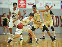 NWA Democrat-Gazette/MICHAEL WOODS &bull; @NWAMICHAELW<br /> Springdale's David Carachure (2) tries to get past Bentonville defender Jordan Hemphill (3) during their game Tuesday, February 16, 2016 at Springdale High School.