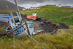 South Harris, Isle of Lewis and Harris, Scotland:<br /> Old fishing boats stranded at low tide