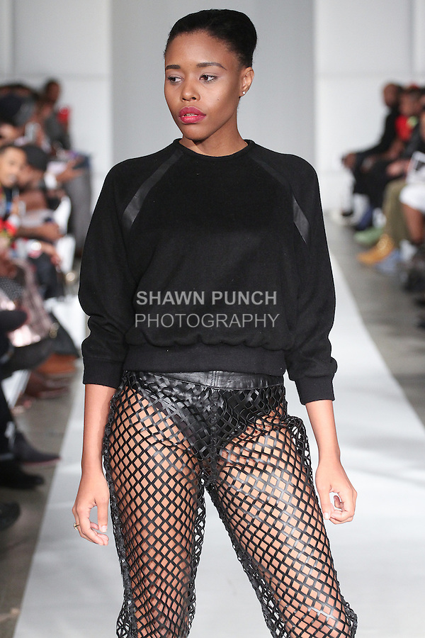 Model walks runway in an outfit from the Soka by Karen DeFreitas Fraser Spring Summer 2015 collection, during Fashion Week Brooklyn Spring Summer 2015.