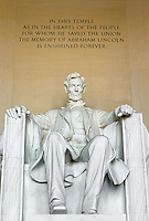 Lincoln statue in the Lincoln Memorial, Washington, DC