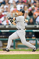 Hideki Matsui #55 of the New York Yankees follows through on his swing versus the Detroit Tigers at Comerica Park April 27, 2009 in Detroit, Michigan.  Photo by Brian Westerholt / Four Seam Images