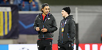 10th March 2020, Red Bull Arena, Leipzig, Germany; EUFA Champions League, RB Leipzig v Tottenham Hotspur; Yussuf Poulsen 9, RB Leipzig and Emil Forsberg 10, RB Leipzig inspect the pitch