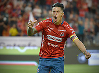 MEDELLÍN - COLOMBIA, 06-10-2018:  German Cano jugador del Medellín celebra después de anotar el primer gol de su equipo al Atletico Nacional durante el partido entre Deportivo Independiente Medellín y Atletico Nacional por la fecha 13 de la Liga Águila II 2018 jugado en el estadio Atanasio Girardot de la ciudad de Medellín. / German Cano player of Medellin celebrates after scoring the first goal of his team to Atletico Nacional during match between Deportivo Independiente Medellin and Atletico Nacional for the date 13 of the Aguila League II 2018 played at Atanasio Girardot stadium in Medellin city. Photo: VizzorImage/ León Monsalve / Cont