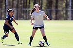 CARY, NC - APRIL 01: Wake Forest's Bri Carney (45) and Courage's Debinha (BRA) (10). The NWSL's North Carolina Courage played a preseason game against the Wake Forest Demon Deacons on April 1, 2017, at WakeMed Soccer Park Field 3 in Cary, NC. The Courage won the match 3-0.