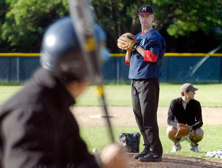 Rep. Bart Stupak, D-Mi., at the Democratic baseball team practice at Hamilton High School NE...