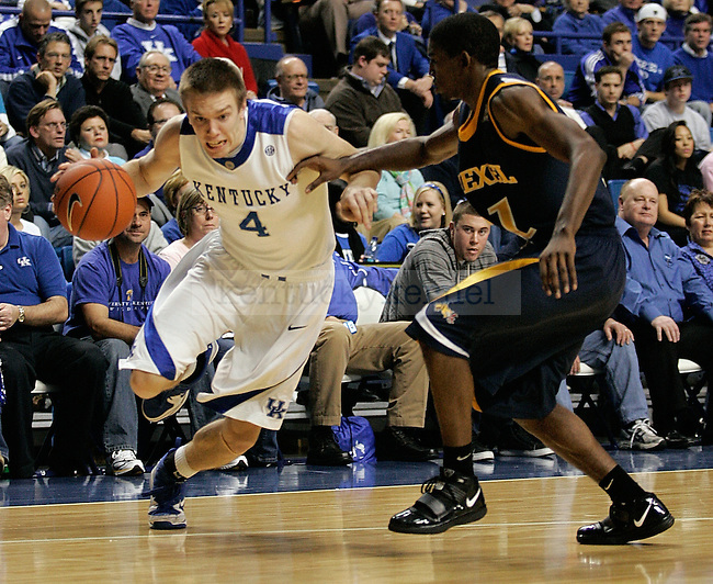 Freshman guard John Hood dribbles to the net in the second half of UK's 2,000th win against Drexel at Rupp Arena on Monday, Dec 21, 2009. Photo by Britney McIntosh | Staff