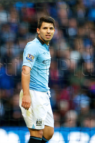 09.12.2012 Manchester, England. Manchester City's Argentinean forward Sergio Agüero in action during the Premier League game between Manchester City and Manchester United from the Etihad Stadium. Manchester United scored a late winner to take the game 2-3.