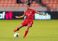 HOUSTON, TX - FEBRUARY 3: Maria Guevara #7 of Panama passes the ball during a game between Panama and Haiti at BBVA Stadium on February 3, 2020 in Houston, Texas.