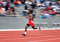 A runner sprints to the finish in the Boys 400 Meter Dash during the Eddie Payne Relays track and field event at John E. Kincaide Stadium in Dallas, Texas, Saturday, March 29, 2008. (NO NAME)..MATT NAGER/ SPECIAL CONTRIBUTER