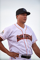 Jupiter Hammerheads pitcher Zech Lemond (20) during a game against the Palm Beach Cardinals on August 4, 2018 at Roger Dean Chevrolet Stadium in Jupiter, Florida.  Palm Beach defeated Jupiter 7-6.  (Mike Janes/Four Seam Images)