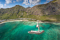 An aerial view of Makai Research Pier, Waimanalo, O'ahu.