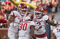 Hawgs Illustrated/BEN GOFF <br /> Briston Guidry (7) and McTelvin Agim (3), Arkansas defensive ends, celebrate with Kevin Richardson (30), Arkansas nickel back, after Richardson recovered an Ole Miss fumble to score in the fourth quarter Saturday, Oct. 28, 2017, at Vaught-Hemingway Stadium in Oxford, Miss.