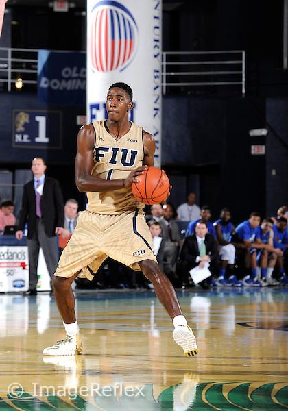Florida International University guard Jason Boswell (1) plays against Florida Gulf Coast University.  FIU won the game 72-61 on December 7, 2013 at Miami, Florida.