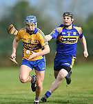 Brian Corry of  Sixmilebridge  in action against Sean O Connor of Newmarket during their Clare Champion Cup final at Clonlara. Photograph by John Kelly.