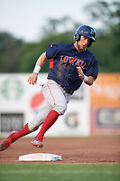 Lowell Spinners center fielder Cole Brannen (18) running the bases during a game against the Auburn Doubledays on July 13, 2018 at Falcon Park in Auburn, New York.  Lowell defeated Auburn 8-5.  (Mike Janes/Four Seam Images)