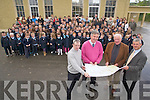 PLANS: At the signing of contracts for the new building at O'Brennan School in Ballymacelligott on Wednesday morning were front, l-r: Pat O'Hara (O'Sullivan-Campbell Architects), Mike Sweeney (Principal), Bob Fitzgerald (Chairman, Board of Management), Damien Donoghue (Midland Construction) with staff, parents and pupils.