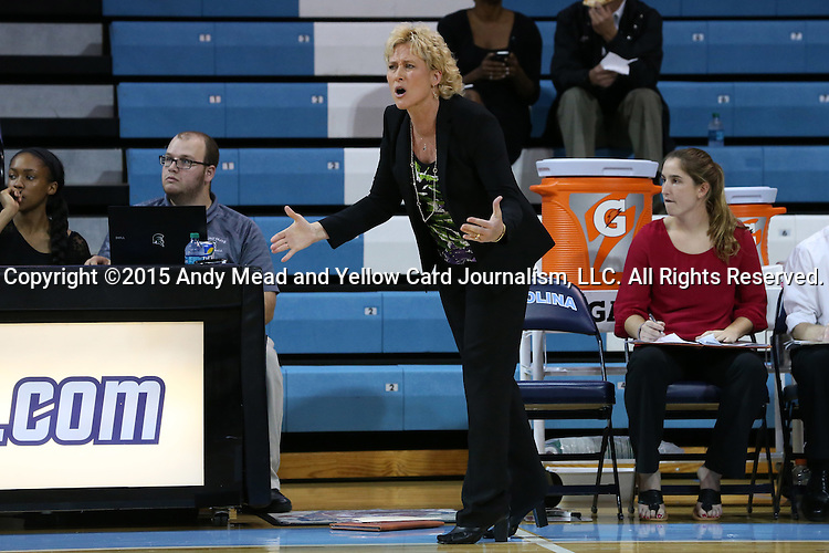 09 November 2015: Mount Olive head coach Wendy Lee. The University of North Carolina Tar Heels hosted the University of Mount Olive Trojans at Carmichael Arena in Chapel Hill, North Carolina in a 2015-16 NCAA Women's Basketball exhibition game. UNC won the game 99-45.