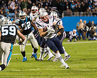 The Carolina Panthers play the New England Patriots at Bank of America Stadium in Charlotte North Carolina on Monday Night Football.  The Panthers defeated the Patriots 24-20.  New England Patriots tight end Rob Gronkowski (87)