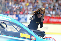 Jun 12, 2016; Englishtown, NJ, USA; Leeza Diehl , wife of NHRA funny car driver Jeff Diehl during the Summernationals at Old Bridge Township Raceway Park. Mandatory Credit: Mark J. Rebilas-USA TODAY Sports