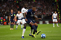 Steven Bergwijn of PSV Eindhoven and Davinson Sanchez of Tottenham Hotspur during Tottenham Hotspur vs PSV Eindhoven, UEFA Champions League Football at Wembley Stadium on 6th November 2018