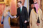King Felipe VI of Spain before lunch in honor of Arabia Saudi heir prince, Mohámed bin Salmán at Royal Palace in Madrid, Spain. April 12, 2018. (ALTERPHOTOS/Borja B.Hojas)