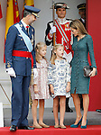 King Felipe VI of Spain, Princess Leonor of Spain, Princess Sofia of Spain and Queen Letizia of Spain attend Spain's National Day Military Parade. October 12 ,2014. (ALTERPHOTOS/Pool)