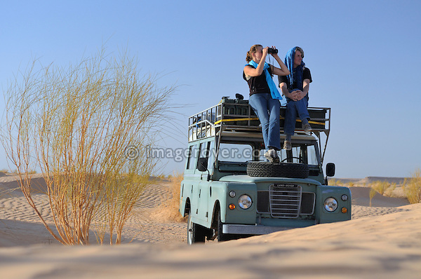 Africa, Tunisia, nr. Tembaine. Desert travellers Andrea and Stephan enjoying the sight into the open desert sitting on their historic Series 3 Land Rover's roofrack. --- No releases available, but releases may not be needed for certain uses. Automotive trademarks are the property of the trademark holder, authorization may be needed for some uses.  --- Info: Image belongs to a series of photographs taken on a journey to southern Tunisia in North Africa in October 2010. The trip was undertaken by 10 people driving 5 historic Series Land Rover vehicles from the 1960's and 1970's. Most of the journey's time was spent in the Sahara desert, especially in the area around Douz, Tembaine, Ksar Ghilane on the eastern edge of the Grand Erg Oriental.