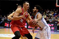 GRONINGEN - Basketbal, Donar - Spirou, Martiniplaza, Europe Cup, seizoen 2019-2020, 27-11-2019,  Donar speler Shane Hammink met Spirou speler Khalid Boukichou