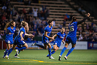 Seattle, Washington -  Sunday, September 11 2016: Seattle Reign FC midfielder Keelin Winters (11) celebrates her goal during a regular season National Women's Soccer League (NWSL) match between the Seattle Reign FC and the Washington Spirit at Memorial Stadium. Seattle won 2-0.