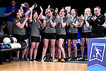 CLAYTON, MO - APRIL 14: Kristin Quah #27 of Vanderbilt University, second from left, is recognized after being named in the NCAA Elite 90 class during the Division I Women's Bowling Championship held at Tropicana Lanes on April 14, 2018 in Clayton, Missouri. Vanderbilt University defeated McKendree University 4-3. (Photo by Tim Nwachukwu/NCAA Photos via Getty Images)