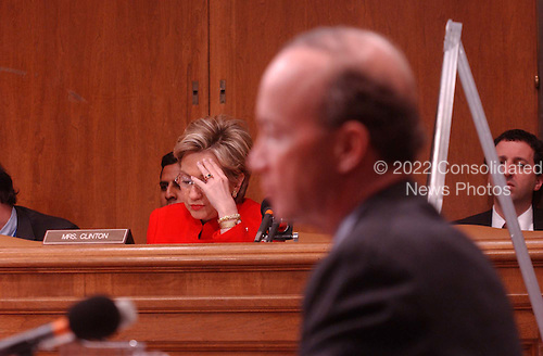 Washington, DC - February 5, 2002 -- United States Senator Hillary Rodham Clinton (Democrat of New York) questions Office of Management and Budget (OMB) Director Mitch Daniels at a hearing of the U.S. Senate Budget Committee on February 5, 2002..Credit: Ron Sachs / CNP