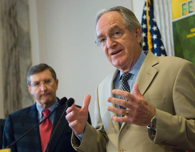 WASHINGTON, DC - Nov. 08: Sen. Kent Conrad, D-N.D., a member of the agriculture panel and chair of the Senate Budget Committee, and Senate Agriculture Chairman Tom Harkin, D-Iowa, during a news conference on the farm program reauthorization bill. Senate progress on the $288 billion measure to renew farm programs ground to a halt Nov. 6 as Democrats and Republicans clashed over which amendments can be offered. (Photo by Scott J. Ferrell/Congressional Quarterly).