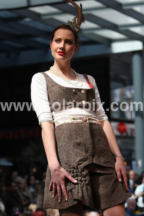 **ALL ROUND PICTURES FROM SOLARPIX.COM**.**WORLDWIDE SYNDICATION RIGHTS**.The last day of the Alternative Fashion Week at Spitafield Market in London, England on April 23, 2010..This pic:    Laura Fox collection.JOB REF:    11149   MLW       DATE:    23.04.10.**MUST CREDIT SOLARPIX.COM OR DOUBLE FEE WILL BE CHARGED**.**MUST NOTIFY SOLARPIX OF ONLINE USAGE**.**CALL US ON: +34 952 811 768 or LOW RATE FROM UK 0844 617 7637**