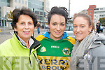 Kerry fans pictured at the Tralee homecoming for the Kerry team at the railway station on Monday evening, from left: Noreen Carey (Abbeydorney), Stephanie O'Sullivan (Milltown) and Ciara Kennelly (Ballybunion)